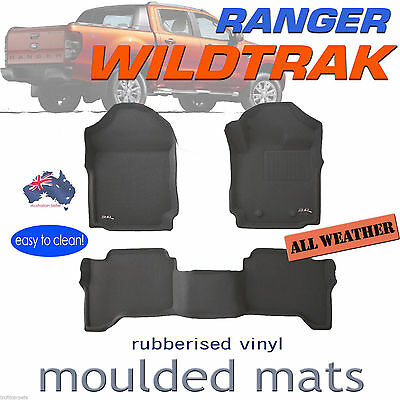 To suit Ford Ranger Wildtrak PX PX2 Genuine 3D BLACK Rubber Floor Mats 2011-2018