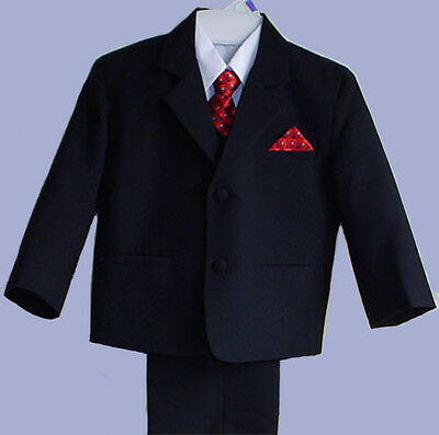 Boys Black Wedding Ring Boy Suit Tuxedo W/ Vest Size 6