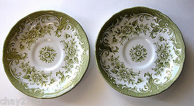 J & G MEAKIN ROYAL STAFFORDSHIRE AVONDALE IRONSTONE GREEN SAUCERS 2 PCS- ENGLAND