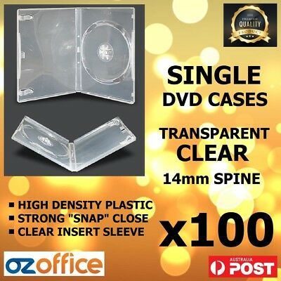 PREMIUM 100 x 14mm Single Fully Clear CD DVD Case Standard Size DVD Cover Cases