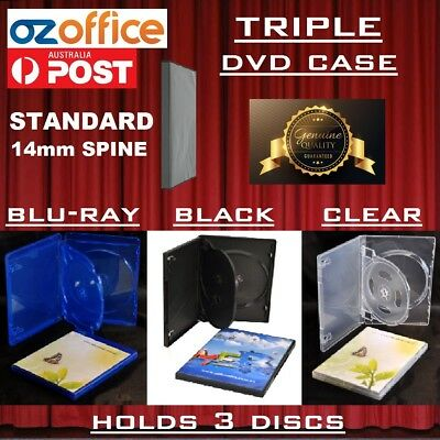PREMIUM QUALITY Triple 3 DVD Case DVD Cover Blu Ray Black Clear 14mm Spine