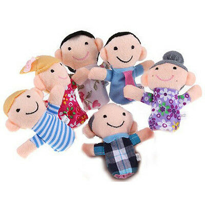 New Six Pieces Funny Family Finger Puppets Doll Toys Set