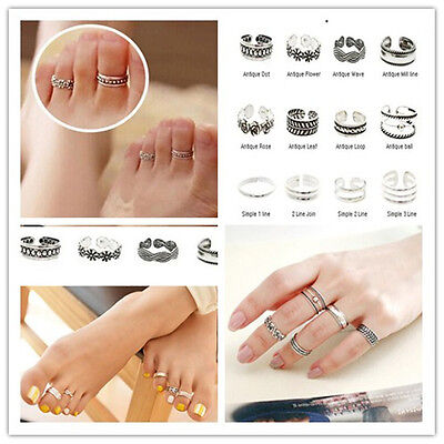 New Celebrity Simple Retro Flower Design Adjustable Toe Ring Foot Finger Jewelry