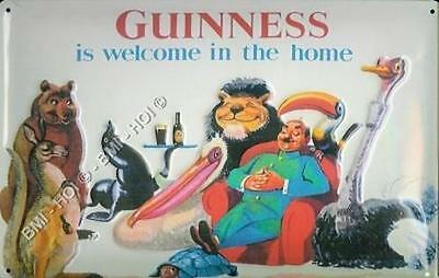 """Old Advert - Guinness is Welcome in the Home Metal Sign - 12"""" x 8"""" inches"""