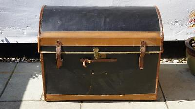 Large Victorian dome top  travel trunk/chest, black canvas/leather over wicker