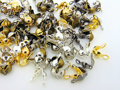 Mixed Plated Calottes Necklace End Tips 8mm Gold Silver Antique Bronze ML
