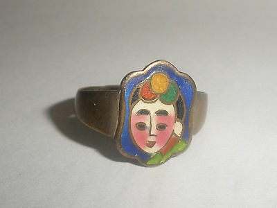 Antique Chinese oriental Enamel geisha girl sterling silver adjustable ring sign