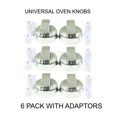 6 x SILVER COOKER OVEN HOB CONTROL KNOB & ADAPTORS FOR BELLING NEW WORLD STOVES