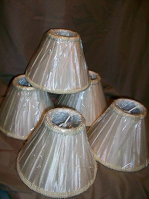 5 New Soft Back Clip On Chandelier Light Lamp Shades Beige Pleated Brocade Trim