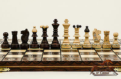 "Gorgeous ""SENATOR DELUXE"" Premium Quality Wooden Chess Set 41cmx41cm- BARGAIN!!!"