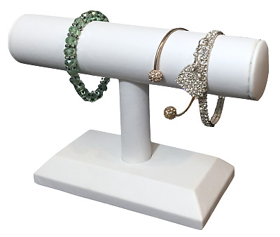 """White Leatherette Bracelet Display T-Bar Watch Display Countertop Display 5""""tall"""