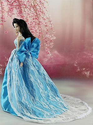 Blue Fashion Royalty Princess Party Dress Clothes Gown For Barbie Doll S156P