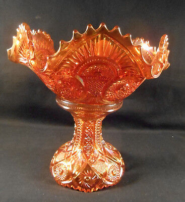 Antique MARIGOLD CARNIVAL GLASS TWINS IMPERIAL FRUIT BOWL with BASE