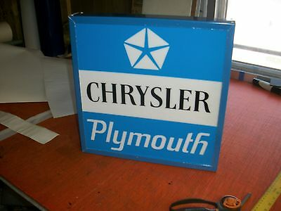 CHRYSLER PLYMOUTH LIGHTED SIGN SINGLE SIDED 21X21 INCH
