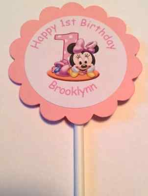 Minnie Mouse or Mickey Mouse 1st Birthday Customized Cupcake Toppers 12 Count