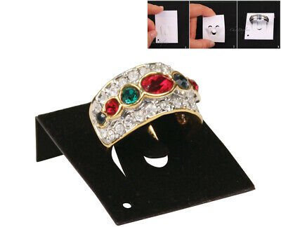 New  Lot Of 100 Black Ring Cards Jewelry Cards Countertop Displays Card Insert