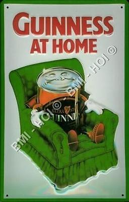 """Guinness Can At Home on metal sign 12"""" x 8"""" inch - Classive vintage advert"""