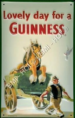 "Lovely day for a Guinness Metal Tin Sign Large 12"" x 8"" inches Gilroy poster ad"