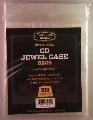 1000 CBG Resealable CD Jewel Case Acid Free 2-Mil Clear Poly Bags sleeves covers