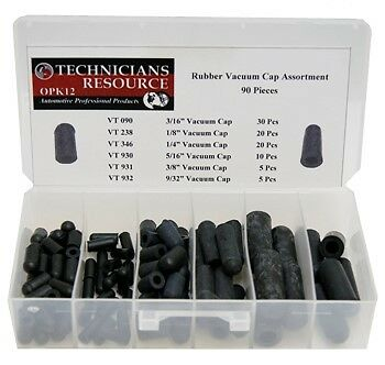 OPK12 Rubber Vacuum Cap Assortment (90 Pcs / 6 Sizes)