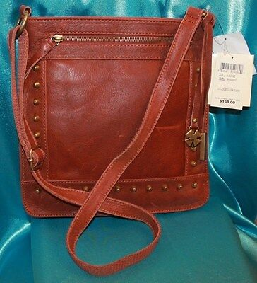 Lucky Brand Bag Studded Leather Crossbody Brandy 10x11 Retails for $168.00 NEW!