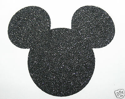 Iron-on Mickey Mouse Ears Motif Transfer- BLACK Fabric Glitter +FREE Rhinestones