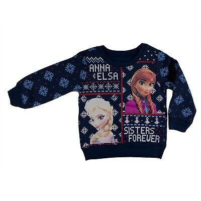Frozen - Sisters Forever Toddler Ugly Christmas Sweater Blue Sweatshirt