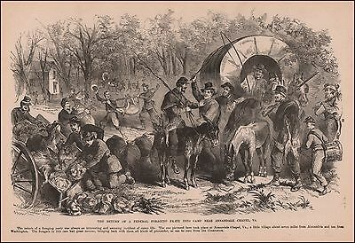Annandale, Virginia, Civil War Scene, antique engraving, original, 1895