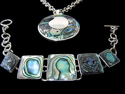 Sterling Silver Necklace Pendant and Bracelet Set Abalone 925 Taxco
