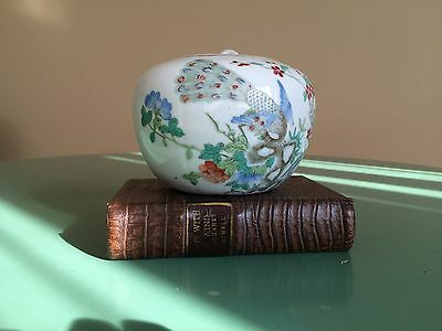 Antique China Peacock Poetry Jar