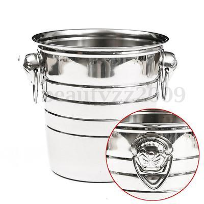 Stainless Steel Ice Bucket Holder Party Drinks Beer Wine Champagne Cooler H:19cm