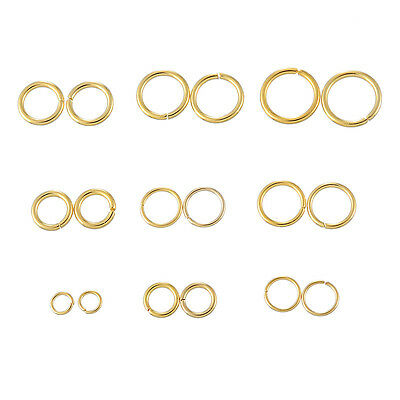 20PCs Stainless Steel Circle Rings Gold Plated Jewelry Making Findings BD
