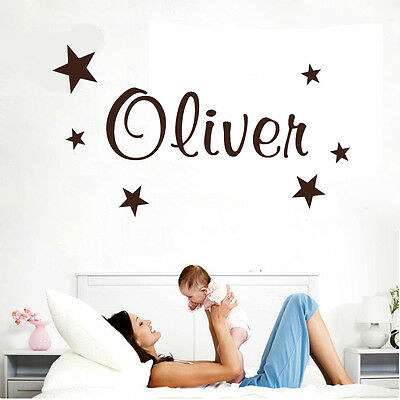 Wall Stickers custom baby name star vinyl decal decor Nursery kids removable