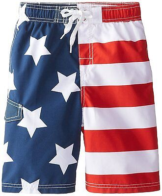 Boys  Patriot Swim Trunks American Flag Swimwear Shorts USA Swimtrunk