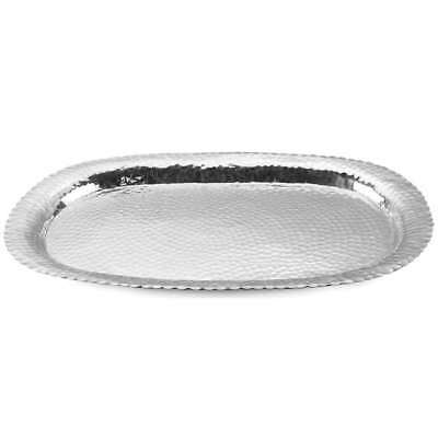 """St. Croix Kindwer Huge 31"""" Hammered Aluminum Oval Tray, Silver - A1106"""