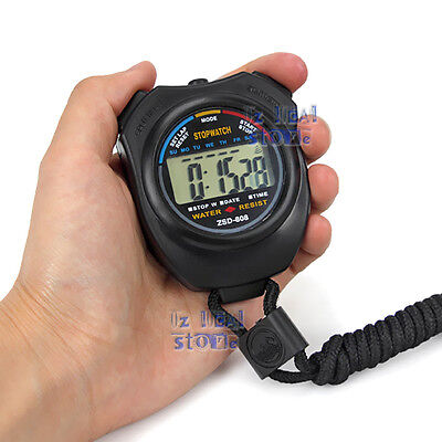 OZ Handheld Digital LCD Chronograph Sports Counter Stopwatch Timer Stop Watch