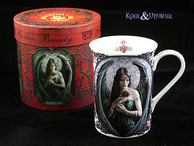 "Anne Stokes Bone China Mug Cup: ""Angel Rose"" Gothic Angel with Black Wings"