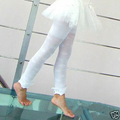 New Girls Legging Footless Tight Hollow Lace Dance Stocking Pants 4-15Y