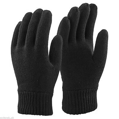 Mens 3M BLACK THINSULATE THERMAL LINED WINTER GLOVES SMALL/MED