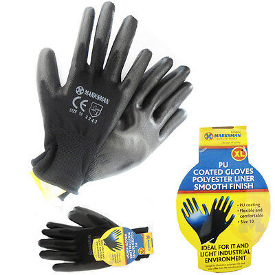 PU Work Gloves Black Light Industrial Working Flexible Marksman Quality Gloves