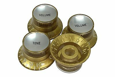 Bell Hat Knobs Gold w/Silver Reflector for Gibson USA 4pk