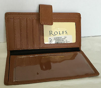 Rolfs Tan Leather Checkbook Cover Wallet Snap Closure 5 Card Slots 1 ID Window