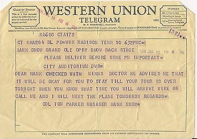 Western Union Telegram from Colonel Tom Parker Elvis Mgr. to Hank Snow at Opry