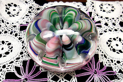 Vintage St. Clair Art Glass Folded Ribbons Multi Color Paperweight USA