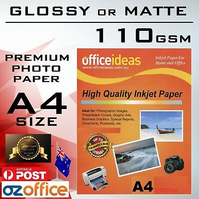 100 Sheets A4 High Glossy or Matte Paper 110GSM for Canon Epson HP Printer