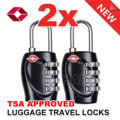 2x TSA Combination Approved 4 Dial Luggage Suitcase Security Padlock Travel Lock