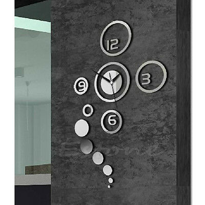 Mirror Style DIY Wall Clock Removable Decal Vinyl Art Wall Sticker Home Decor