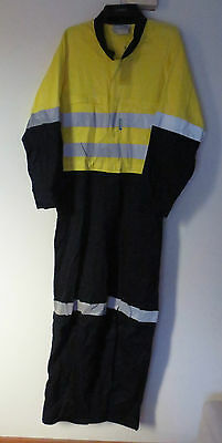 2 x ESCAPE Hi-Vis Cotton Overalls with Reflective Tape E31022 Yellow Navy