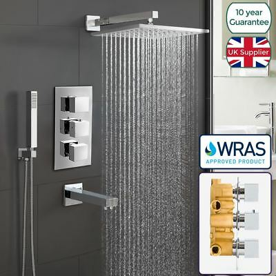 Bathroom 3 Dial 3 Way Concealed Square Thermostatic Shower Mixer Valve Chrome