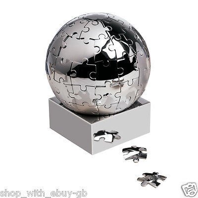 Magnetic Metal Stainless Steel World Puzzle Globe Desk Jigsaw Paper Weight Game